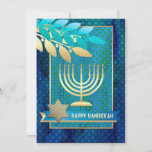 "Happy Hanukkah. Customizable Greeting Cards<br><div class=""desc"">Happy Hanukkah! Menorah,  Star of David and Olive Branches Design Customizable Hanukkah Greeting Cards / Hanukkah Celebration Invitations with personalized text. Matching cards,  postage stamps and other products available in the Jewish Holidays / Hanukkah Category of our store.</div>"
