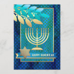 """Happy Hanukkah. Customizable Greeting Cards<br><div class=""""desc"""">Happy Hanukkah! Menorah,  Star of David and Olive Branches Design Customizable Hanukkah Greeting Cards / Hanukkah Celebration Invitations with personalized text. Matching cards,  postage stamps and other products available in the Jewish Holidays / Hanukkah Category of our store.</div>"""