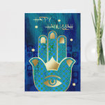 """Happy Hanukkah. Customizable Greeting Cards<br><div class=""""desc"""">Happy Hanukkah! / Happy Chanukah! Star of David and Hamsa Hand Lucky Symbol Design Customizable Hanukkah Greeting Cards with a personalized greeting. Matching cards,  postage stamps and other products available in the Jewish Holidays / Hanukkah Category of our store.</div>"""