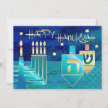 "Happy Hanukkah. Customizable Greeting Cards<br><div class=""desc"">Happy Hanukkah! Menorah,  Gold Foil Dreidels and Star of David Design Customizable Hanukkah Greeting Cards / Hanukkah Celebration Invitations with personalized text. Matching cards,  postage stamps and other products available in the Jewish Holidays / Hanukkah Category of our store.</div>"