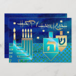 """Happy Hanukkah. Customizable Greeting Cards<br><div class=""""desc"""">Happy Hanukkah! Menorah,  Gold Foil Dreidels and Star of David Design with gold foil details customizable Hanukkah Greeting Cards / Hanukkah Celebration Invitations with personalized text. Matching cards,  postage stamps and other products available in the Jewish Holidays / Hanukkah Category of our store.</div>"""