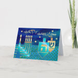 "Happy Hanukkah. Customizable Greeting Cards<br><div class=""desc"">Happy Hanukkah! / Happy Chanukah! Star of David,  Menorah and Dreidels Design Customizable Hanukkah Greeting Cards with a personalized greeting. Matching cards,  postage stamps and other products available in the Jewish Holidays / Hanukkah Category of our store.</div>"