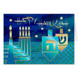 Happy Hanukkah. Customizable Greeting Cards<br><div class='desc'>Happy Hanukkah! / Happy Chanukah! Star of David,  Menorah and Dreidels Design Customizable Hanukkah Greeting Cards with a personalized greeting. Matching cards,  postage stamps and other products available in the Jewish Holidays / Hanukkah Category of our store.</div>
