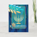 """Happy Hanukkah. Customizable Greeting Cards<br><div class=""""desc"""">Happy Hanukkah! / Happy Chanukah! Star of David,  Menorah and Olive Branches Design Customizable Hanukkah Greeting Cards with personalized name and greeting. Matching cards,  postage stamps and other products available in the Jewish Holidays / Hanukkah Category of our store.</div>"""