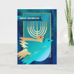 "Happy Hanukkah. Customizable Greeting Cards<br><div class=""desc"">Happy Hanukkah! / Happy Chanukah! Menorah and Peace Dove Design Customizable Hanukkah Greeting Cards with personalized name and greeting. Matching cards,  postage stamps and other products available in the Jewish Holidays / Hanukkah Category of our store.</div>"