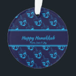 """HAPPY HANUKKAH Customized Dreidel Blue Cyan Ornament<br><div class=""""desc"""">Stylish, elegant ornament for your HANUKKAH decor. Design shows a cyan dreidel print in a tiled pattern with customizable placeholder text which you can replace with your own choice of greeting and text. The color scheme is midnight blue and cyan. Other versions are available. Matching items can be found in...</div>"""
