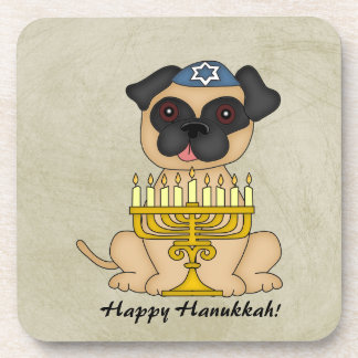 Happy Hanukkah-Cute Pug dog with Menorah Drink Coaster