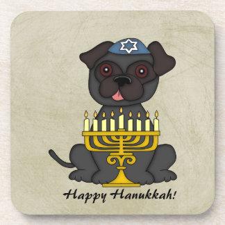 Happy Hanukkah-Cute Pug with Menorah Coasters