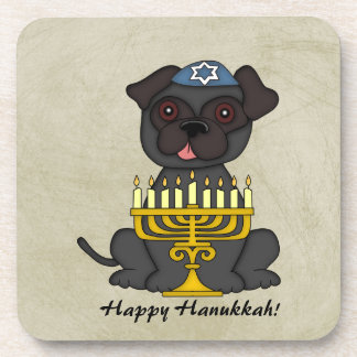 Happy Hanukkah-Cute Pug with Menorah Drink Coaster