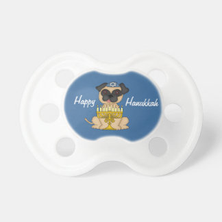 Happy Hanukkah-Cute Pug with Menorah Pacifier