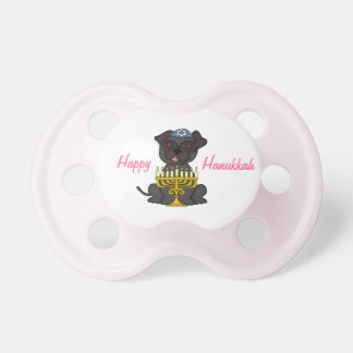 Happy Hanukkah-Cute Pug with Menorah/Pink Pacifier