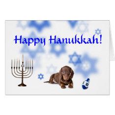Happy Hanukkah Dachshund Card at Zazzle