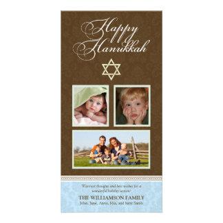 Happy Hanukkah Damask Holiday PhotoCard (blue) Card