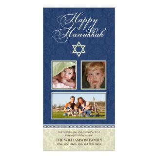 Happy Hanukkah Damask Holiday PhotoCard (navy) Card