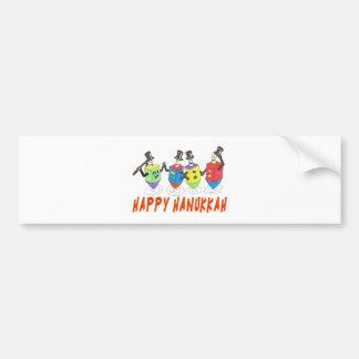 HAPPY HANUKKAH DANCING DREIDELS GIFTS BUMPER STICKER