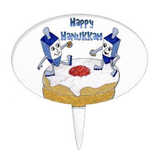 Happy Hanukkah Dancing Dreidels Jelly Doughnut Cake Pick
