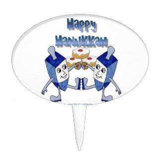 Happy Hanukkah Dancing Dreidels Jelly Doughnut Cake Toppers