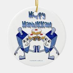 Happy Hanukkah Dancing Dreidels Jelly Doughnut Ceramic Ornament at Zazzle