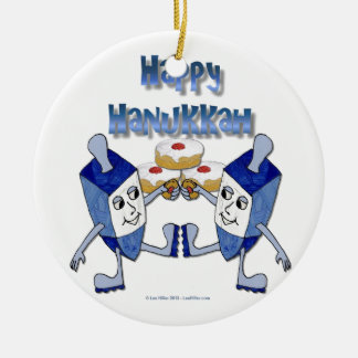 Happy Hanukkah Dancing Dreidels Jelly Doughnut Ceramic Ornament