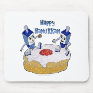 Happy Hanukkah Dancing Dreidels Jelly Doughnut Mouse Pad