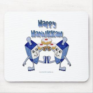 Happy Hanukkah Dancing Dreidels Jelly Doughnut Mouse Pad