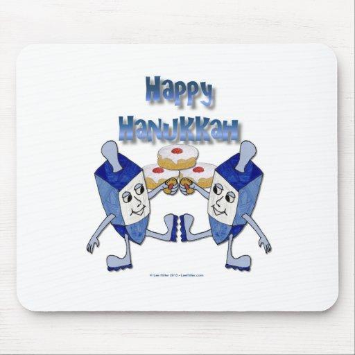Happy Hanukkah Dancing Dreidels Jelly Doughnut Mousepad
