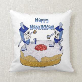 Happy Hanukkah Dancing Dreidels Jelly Doughnut Throw Pillow