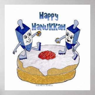 Happy Hanukkah Dancing Dreidels Jelly Doughnut Poster