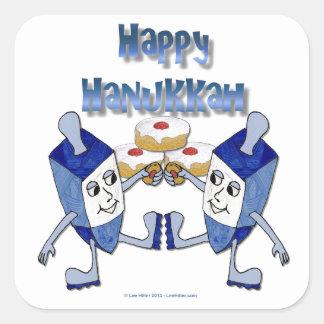 Happy Hanukkah Dancing Dreidels Jelly Doughnut Square Sticker