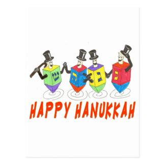Happy Hanukkah Dancing  Dreidels Postcard