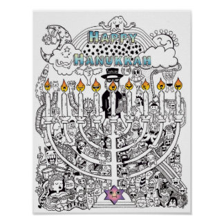 Happy Hanukkah Doodle Art Poster