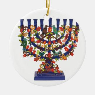HAPPY HANUKKAH Double-Sided CERAMIC ROUND CHRISTMAS ORNAMENT