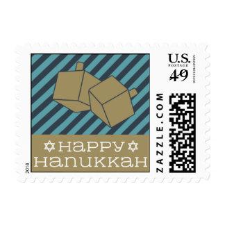 Happy Hanukkah Dreidel - Navy Blue & Teal Postage