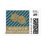 Happy Hanukkah Dreidel - Navy Blue & Teal Postage Stamp