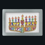"""Happy Hanukkah Dreidels Menorah Belt Buckle<br><div class=""""desc"""">You are viewing The Lee Hiller Design Collection. Apparel,  Gifts &amp; Collectibles Lee Hiller Photography or Digital Art Collection. You can view her Nature photography at http://HikeOurPlanet.com/ and follow her hiking blog within Hot Springs National Park.</div>"""
