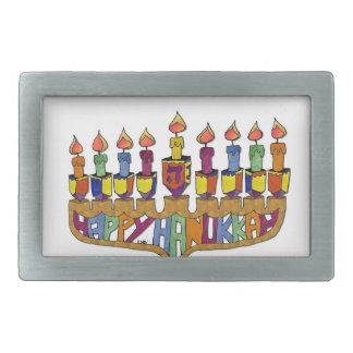 Happy Hanukkah Dreidels Menorah Belt Buckle