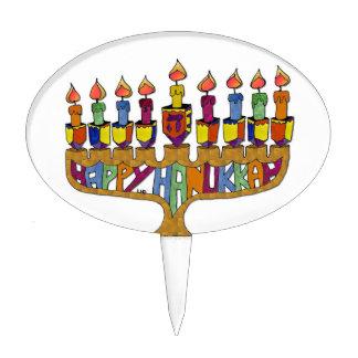 Happy Hanukkah Dreidels Menorah Cake Toppers