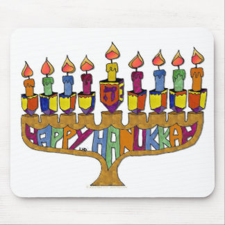 Happy Hanukkah Dreidels Menorah Mouse Pad
