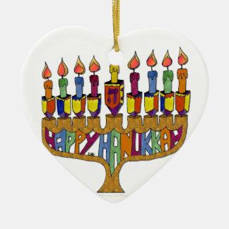 Happy Hanukkah Dreidels Menorah Double-Sided Heart Ceramic Christmas Ornament