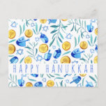 """Happy Hanukkah Driedel Gelt Watercolor CUSTOM Postcard<br><div class=""""desc"""">Customize this card by adding your own text over the cute background. Check my shop for more colors and designs or let me know if you'd like something custom. Thanks for shopping with me!</div>"""