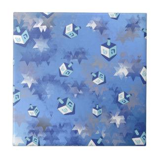 Happy Hanukkah Falling Star and Dreidels Ceramic Tile