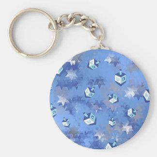 Happy Hanukkah Falling Stars and Dreidels Keychain