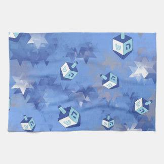 Happy Hanukkah Falling Stars and Dreidels Towels