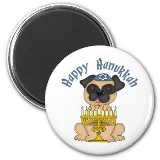 Happy Hanukkah Fawn Pug 2 Inch Round Magnet