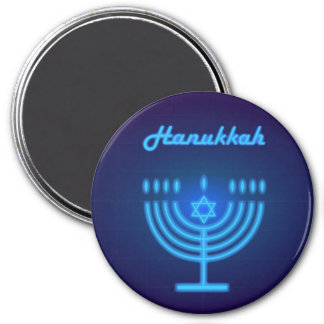 Happy Hanukkah Festival Menorah Logo Magnet