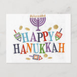 "Happy Hanukkah Festive design Holiday Postcard<br><div class=""desc"">Holiday celebration</div>"