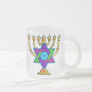 Happy Hanukkah Frosted Glass Coffee Mug