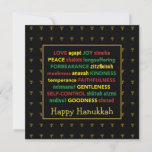 "HAPPY HANUKKAH Fruit of the Spirit Menorah BLACK Holiday Card<br><div class=""desc"">Colorful Happy Hanukkah greeting card with faux gold menorahs in subtle background pattern. FRUIT OF THE SPIRIT including Hebrew translations are written in red, yellow and green. HAPPY HANUKKAH is customizable if you want to add another greeting. The message inside can also be changed to one of your choice, and...</div>"