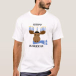 """Happy Hanukkah Funny Moose Menorah T-Shirt<br><div class=""""desc"""">Add a little whimsy to your festival this year with this cute holiday shirt which depicts a moose with a menorah and scarf!</div>"""