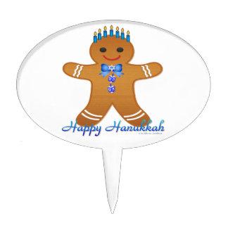 Happy Hanukkah Gingerbread Man Menorah Cake Pick